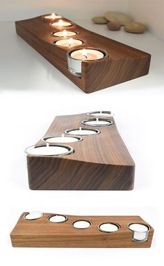 Wooden Tealight Holder, Table Centrepiece, Candle Holder £32