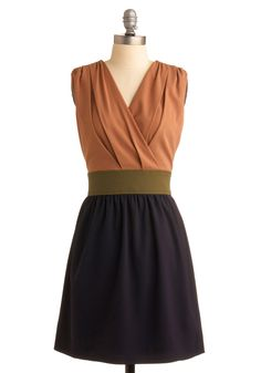 Morning, Dune, and Night Dress - Blue, Green, Casual, A-line, Twofer, Sleeveless, Tan, Solid, Pleats, Work, Fall, Mid-length    I Own this now!