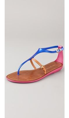 colorful t-strap sandals