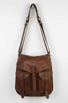BDG Leather Tab-Strap Messenger Bag - Urban Outfitters