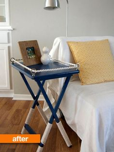 Nautical TV Tray - love this idea as the base for my centerpiece. Use just a piece of wood instead of a tv tray, and make it table-top ready.