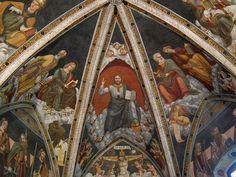 Simone II Baschenis - Cristo Pantocratore e i Quattro Evangelisti  - affresco - 1539 - abside Chiesa di San Vigilio a Pinzolo (Trento, Italia)