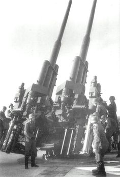 Impressive firepower: A pair of German Flak .88 guns, fearsome artillery against both aerial and surface targets.