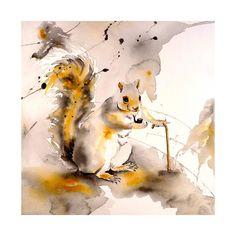 My Favorite!  Squirrel Art - Painting, Watercolor, Print