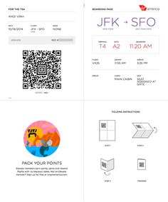 I just checked in online for a flight to California tomorrow on Virgin America, and was pleasantly surprised by how cleverly their boarding pass is designed.
