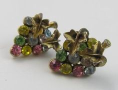 Vintage Signed STAR Multi Color Rhinestone Grape Cluster Screw Back Earrings