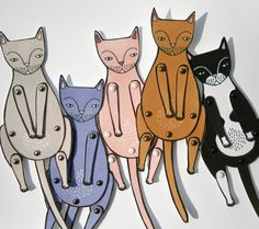 kitty cat moveable paper doll in pink by JordanGraceOwens on Etsy