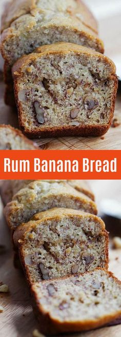 banana bread Rum Banana Bread - Turn traditional recipe into something even better with rum. This recipe yields the best and super moist banana bread ever Köstliche Desserts, Delicious Desserts, Dessert Recipes, Yummy Food, Chinese Desserts, Chinese Food, Super Moist Banana Bread, Dark Chocolate Cakes, Cupcakes