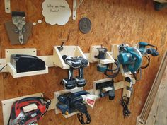 Good reparation and organisation are key to DIY success and that starts with tool storage. Discover a great French cleat storage system for your power tools. Power Tool Storage, Garage Tool Storage, Workshop Storage, Workshop Organization, Garage Tools, Diy Garage, Power Tools, Garage Shop, Garage Organization