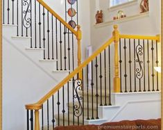 Iron balusters Iron stair parts Iron stair railing Parts Iron Staircase, Wrought Iron Stairs, Metal Stairs, Stair Railing Parts, Parts Of Stairs, Stair Lift, Iron Spindles, Stair Spindles, Railings
