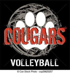 Vector - cougar volleyball - stock illustration, royalty free illustrations, stock clip art icon, stock clipart icons, logo, line art, EPS picture, pictures, graphic, graphics, drawing, drawings, vector image, artwork, EPS vector art