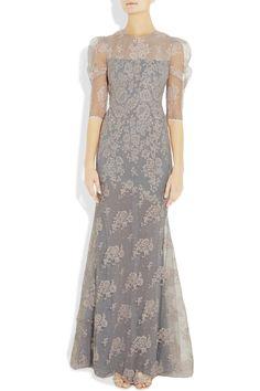 Erdem Gray Pandora Lace Gown
