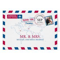 #wedding #thankyoucards - #NEW YORK USA & GERMANY Airmail Wedding Thank You Card