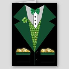handmade St. Patrick's Day card .. Irish tuxedo ... luv the creativity to make the cut paper design ...