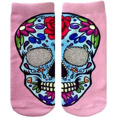 Sugar Skull Ankle Socks ($8.50) ❤ liked on Polyvore featuring intimates, hosiery, socks, short socks, ankle socks, glitter socks, tennis socks and skull socks