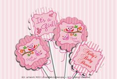 Print Your Own - Baby Shower for Girl - Mom and Baby Owl 2inches Circles For Cupcake Toppers, Favor Tags