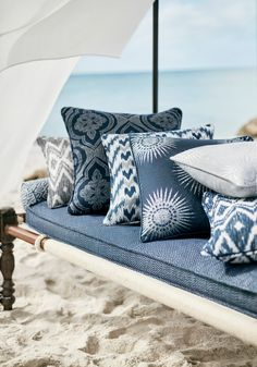Friday Files – Introducing Thibaut's exciting new Sunbrella collection Solstice - BOYAC Outdoor Fabric, Outdoor Sofa, Outdoor Living, Outdoor Furniture, Outdoor Decor, Outdoor Rooms, Coastal Fabric, Narrowboat Interiors, Chair Redo