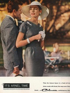 Lovely coordinating grey daywear fashions for him and her from 1960/takes me back to those hat and glove outfits ladies used to wear which left much to the imagination - a more romantic time in my opinion/kkn
