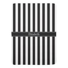 Black White Stripe Black Name Monogram Baby Blankets