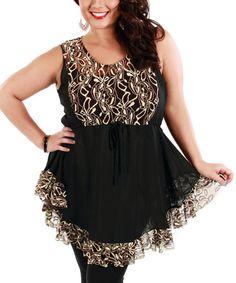 Look at this #zulilyfind! Black & Beige Ruffle Sleeveless Tunic - Plus #zulilyfinds