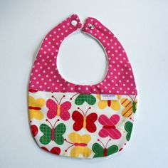 hand made Cotton baby dribble bib(butterfly and spots ) £4.00
