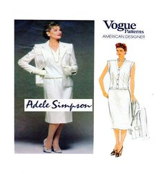 ADELE SIMPSON: Womens Career Separates Vogue 1504 Semi Fitted Button Jacket, Sleeveless Button Tunic, Straight Skirt Size 12 UNCUT by FindCraftyPatterns on Etsy