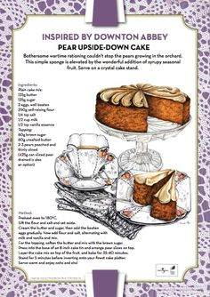 Downton Abbey Inspired Recipes such as Pear upside down cake, Yorkshire scones, and tea sandwiches. Tea Recipes, Cooking Recipes, Pasta Recipes, Picnic Recipes, Lentil Recipes, Kraft Recipes, Lemon Recipes, Fudge Recipes, Pudding Recipes