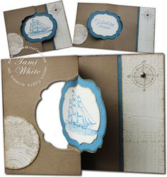 Stampin' Up! Double Swing Card with the Open Sea & Labels Framelits. Video tutorial and supplies.