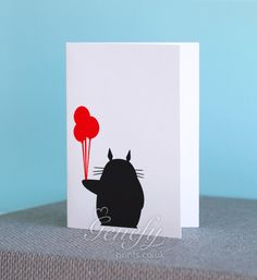Totoro Silhouette Cut Out Birthday/Greeting/Invitation Card www.genefyprints.co.uk