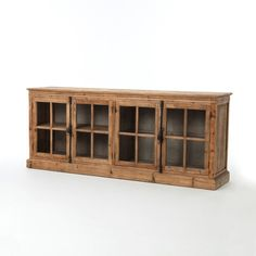 Four Hands Storage squared. Inspired by French casement windows, framed glass doors are accented with cast brass turn knobs. Reclaimed pine is finished in layers of wax for a soft hand. Monaco, French Casement Windows, Dining Room Storage, Sideboard Buffet, Glass Material, Farmhouse Furniture, Dining Furniture, Or Antique, Storage Cabinets