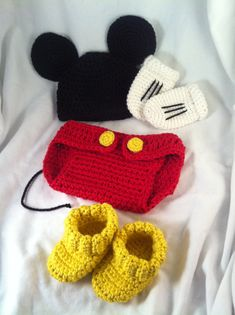 Crochet Mickey Mouse inspired hat, diaper cover, boots, and glove set. Newborn to 3 month size. on Etsy, $45.00