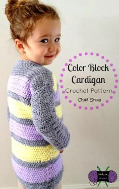 Lightweight crochet button-up cardigan from Blackstone Designs in size 2T thru 12Y. Get the pattern here: http://www.ravelry.com/patterns/library/color-block-cardigan---child