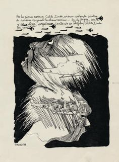 """""""Por la sierra morena, Cielito Lindo..."""" by José Antonio Burciaga, 1984. José Antonio Burciaga (1940-1996) was one of the founding members of Culture Clash, and performed with the group from 1984 to 1988. An activist, writer, lecturer, and muralist, Burciaga grew up in El Paso, Texas and attended the University of Texas at El Paso and the San Francisco Art Institute. Culture Clash Collection. Latino Cultural Heritage Digital Archives."""
