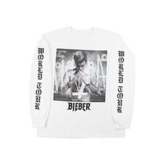 Purpose Tour Long Sleeve T-Shirt (175 RON) ❤ liked on Polyvore featuring tops, t-shirts, long sleeve tops, white t shirt, longsleeve t shirts, longsleeve tee and white tee