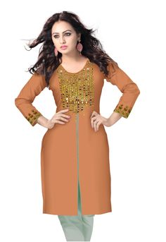 Hand Embroidered Mirror work kurtis by www.indianinstyle.com
