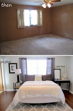master bedroom before and after gray walls paint color is sherwin williams big chill - Ideas For Master Bedrooms
