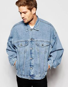 ASOS Oversized Denim Jacket In Blue Wash