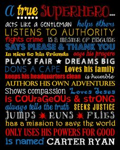 Will be including in the boys bedrooms. A True Superhero. by LittleLifeDesigns on Etsy Superhero Rules, Superhero Room Decor, Superhero Wall Art, Boys Room Decor, Kids Bedroom, Bedroom Ideas, Be My Hero, Boy Art, Just In Case
