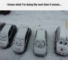 Funny snow car art