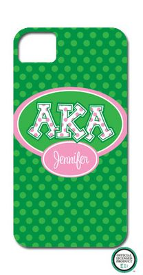 Add some flair to your phone with this Alpha Kappa Alpha Letters on Dots Cell Phone Case