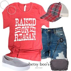 (pre-order) Set Raised on Reagan Tee (incl. Love Fashion, Fashion Outfits, My Bags, Dress Skirt, Style Me, Ships, June, Plaid, Hat