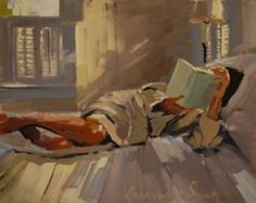 Laura Lacambra Shubert. This painting reminds me of my mom. Most of the art I have included on this board are because she liked them, or liked similar things. This painting I chose because it looks like her reading.