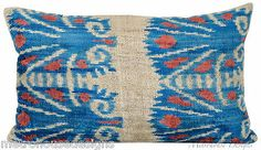 "Mineral Blue ""Palm Ikat"" Silk Velvet Pillow 14 x 22 New | eBay"