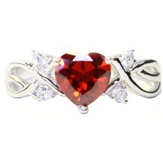 Ruby Heart Promise Ring Front
