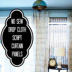 no-sew-dropcloth-curtains  http://diyshowoff.com/2011/12/26/diy-project-parade-and-diy-no-sew-script-drop-cloth-curtain-tutorial/