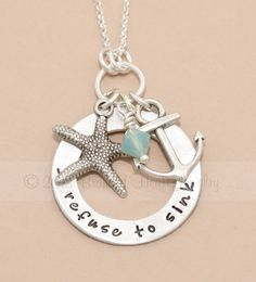 I refuse to sink - hand stamped necklace with anchor and starfish - inspirational