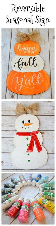 Reversible Seasonal Sign: Pumpkins and Snowman Fall Crafts, Halloween Crafts, Holiday Crafts, Diy And Crafts, Holiday Decor, Creative Crafts, Holiday Ideas, Christmas Decor, Pumpkin Door Hanger