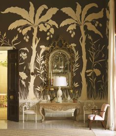 LYFORD CAY CLUB: The Bahamas. Only in an 'exotic' setting, like this island paradise does a bold mural like this work. Wildly imaginative in an over-the-top movie set style, the paintings of palms set in jungle landscape are hypnotic & dreamy. Marvelous.