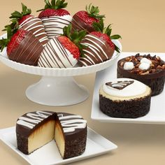 #Decadent #desserts for all to enjoy. A delectable assortment of individual serving mini #cheesecakes and #chocolate covered #Strawberries.