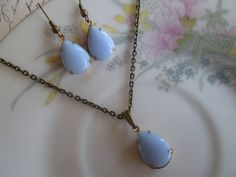 """Vintage Periwinkle Blue Opaque Glass Jewels, Antique Bronze 18"""" Necklace, Dangle Earrings, Gift Set"""